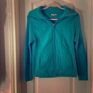 Teal Quilted Knit Sweater Jacket